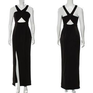 Nicholas black maxi dress cutout slim fit stretchy